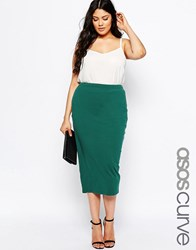 Asos Curve Midi Pencil Skirt In Jersey Green