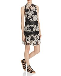 Aqua Sleeveless Floral Print Dress Black White