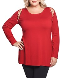 Belldini Lace Up Shoulder Tunic Top 100 Exclusive Belldred