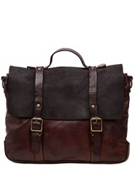 Campomaggi Vintage Effect Leather And Suede Briefcase Brown