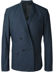 Juun.J Textured Double Breasted Blazer Blue