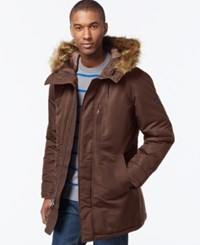 Sean John Faux Fur Trim Hooded Long Parka Olive