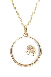 Loquet 14Kt Round Locket With 18Kt Gold Charm And Diamonds Multicolor