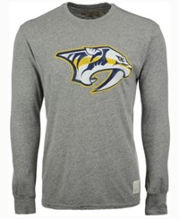 Retro Brand Men's Nashville Predators Primary Mock Twist Long Sleeve T Shirt Gray