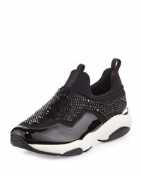 Salvatore Ferragamo Giolly Crystal Stretch Low Top Trainer Nero