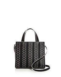 Max Mara Small Whitney Perforated Leather Satchel Black Silver