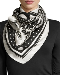 Jonathan Adler Graphic Print Silk Square Scarf Black