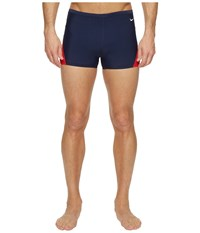 Nike Surge Color Block Poly Square Leg Brief Red Navy Men's Swimwear Multi