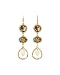Lydell Nyc Simulated Abalone Triple Drop Earrings