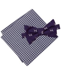 Tommy Hilfiger Men's Dog Print To Tie Bow Tie And Gingham Pocket Square Set Plum