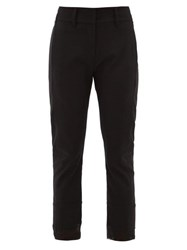 Ann Demeulemeester Cropped Slim Leg Wool Blend Trousers Black