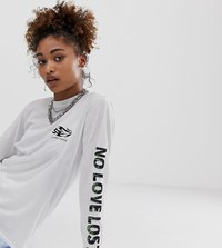 Reclaimed Vintage Inspired Long Sleeve T Shirt With No Love Lost Puff Print White
