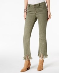 Inc International Concepts Petite Frayed Hem Jeans Created For Macy's Olive Drab