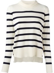 Moncler Striped Long Sleeve Jumper White