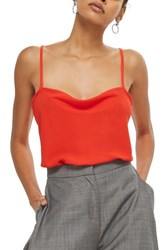 Topshop Cowl Neck Camisole Red