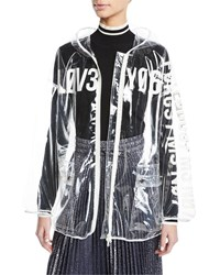 Red Valentino Love Notes See Through Vinyl Rain Jacket Clear