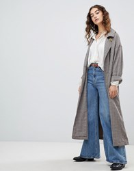 Free People Melody Oversized Check Trench Coat Neutral Combo Brown