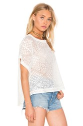Enza Costa Burnout Viscose Cropped Boxy Top White