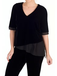 Chesca V Neck Short Sleeve Asymmetric Velvet Top Black