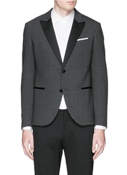 Neil Barrett Satin Peak Lapel Skinny Fit Tuxedo Blazer Grey