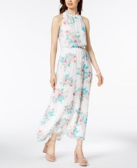 Nine West Floral Print Ruffle Maxi Dress Ivory Atlantis