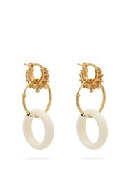 Bottega Veneta Charm Gold Plated Sterling Silver Hoop Earrings White