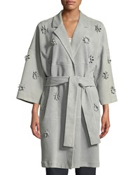 Escada 3 D Floral Belted Suede Trench Coat Dark Gray