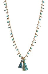 Gas Bijoux Women's Beaded Tassel Necklace Blue Turquoise Gold