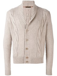 Loro Piana Cable Knit Cardigan Men Goat Skin Cashmere 46 Nude Neutrals