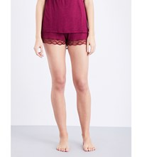Eberjey Georgina Jersey And Lace Shorts Bordeaux