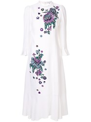 Andrew Gn Embroidered Floral Midi Dress White