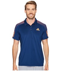 Adidas Barricade Polo Shirt Mystery Blue Glow Orange Men's Short Sleeve Knit