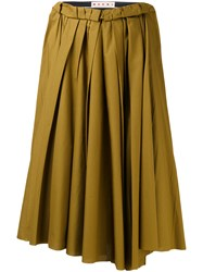 Marni Gathered Midi Skirt Women Cotton 42 Brown