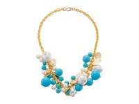 Kenneth Jay Lane Gold Tone Cluster Necklace Turquoise Pearl Necklace Blue