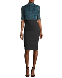 Catherine Deane Half Sleeve Lace And Crepe Cocktail Dress Teal