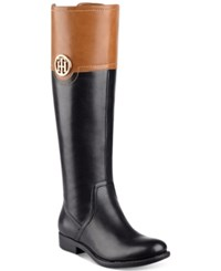 Tommy Hilfiger Silvana Riding Boots Women's Shoes Black Multi