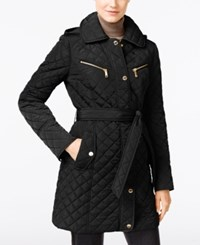 Michael Kors Petite Quilted Trench Coat Black