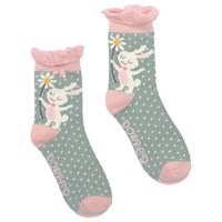 Powder Design Short Bunny And Flower Ankle Socks Green Pink