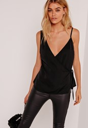 Missguided Satin Tie Wrap Cami Black Black