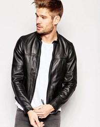 Replay Leather Jacket Zip Front Black