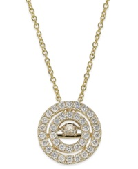 Twinkling Diamond Star Diamond Double Circle Pendant Necklace In 14K White Or Yellow Gold 3 8 Ct. T.W.
