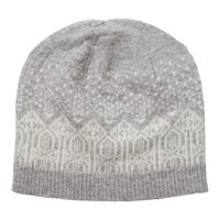 Pure Collection Hannah Cashmere Fair Isle Hat Heather Dove Soft White