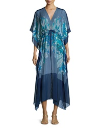 Meng Printed V Neck Long Caftan Blue Pattern