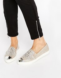 Miss Kg Lianna Gold Embellished Point Sneakers Gold