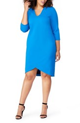 Rebel Wilson X Angels Plus Size V Neck Fitted Dress Directoire Blue