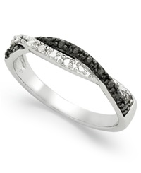 Macy's Sterling Silver Ring Black And White Diamond Weave Ring 1 10 Ct. T.W.