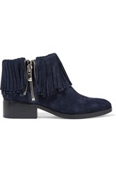 3.1 Phillip Lim Alexa Fringed Suede Ankle Boots Midnight Blue