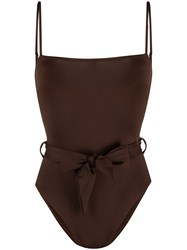 Mc2 Saint Barth Tie Waist Square Neck Swimsuit Brown