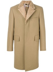 Thom Browne Detachable Fur Collar And Lapel Pilot Cloth Button Nude And Neutrals