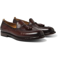 Officine Creative Ivy Burnished Leather Tasselled Loafers Burgundy
